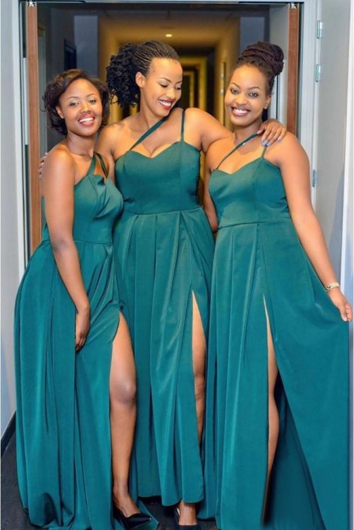 A-Line One-Shoulder Long Bridesmaid Dresses 3010365