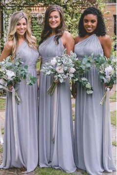 A-Line One-Shoulder Long Bridesmaid Dresses 3010367