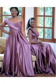 A-Line Beaded Long Bridesmaid Dresses 3010369