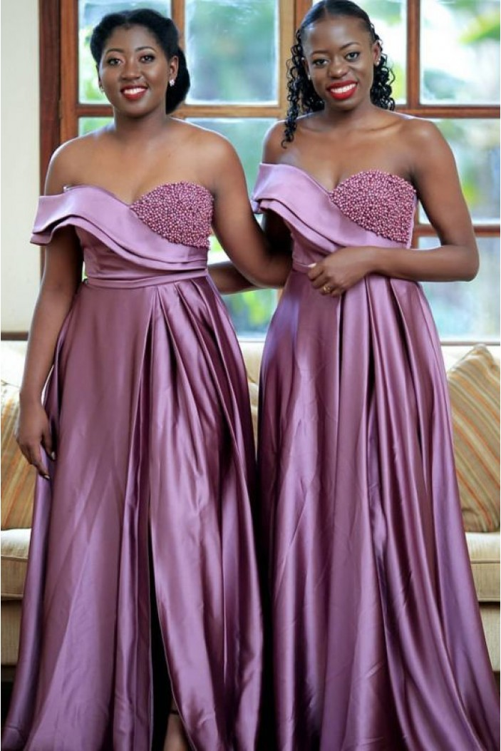 A-Line Beaded Long Bridesmaid Dresses 3010369