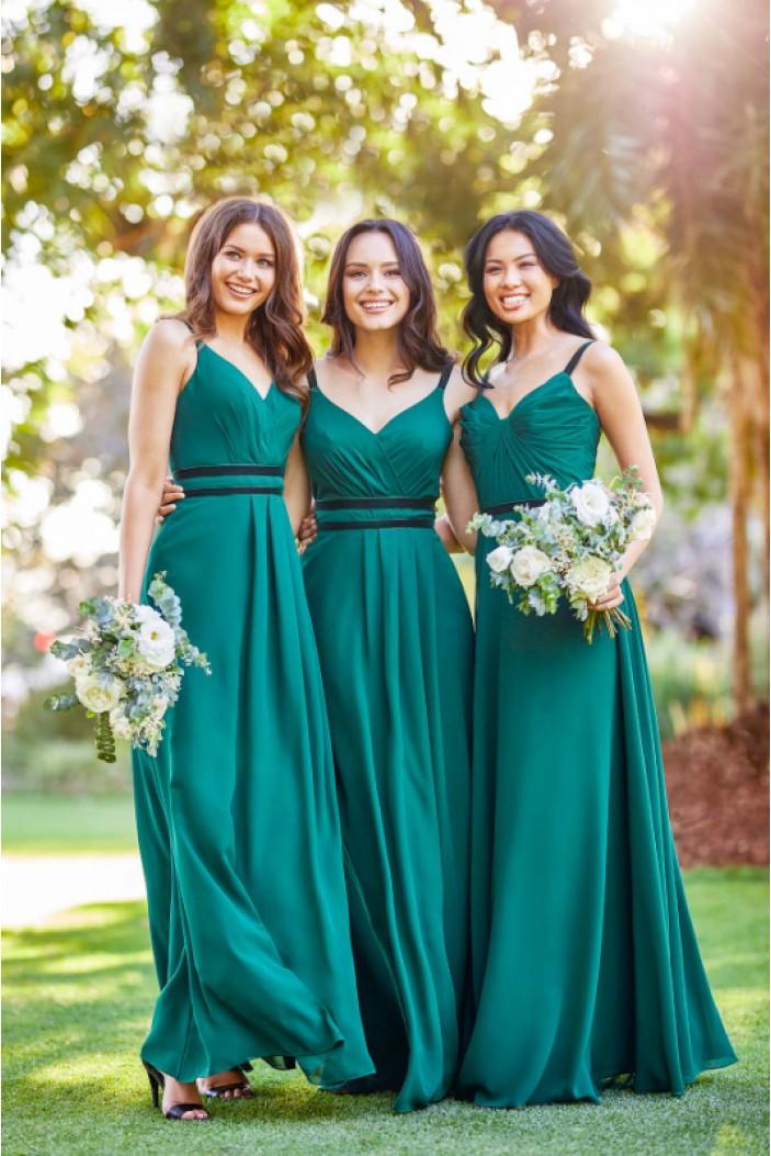 A-Line V-Neck Long Bridesmaid Dresses 3010376