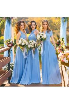 A-Line Chiffon Long Bridesmaid Dresses 3010377