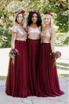 A-Line Sequins and Tulle Long Bridesmaid Dresses 3010378