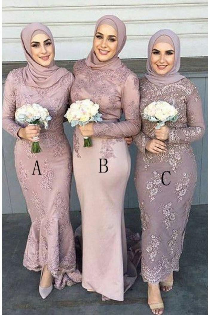 Long Sleeves Lace Bridesmaid Dresses 3010383