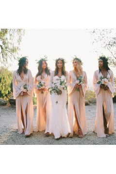 Sheath V-Neck Long Sleeves Chiffon Long Bridesmaid Dresses 3010384