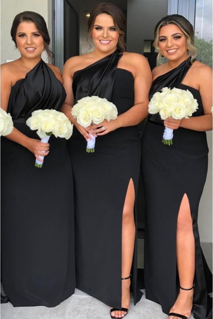 Sheath One-Shoulder Long Black Bridesmaid Dresses 3010390