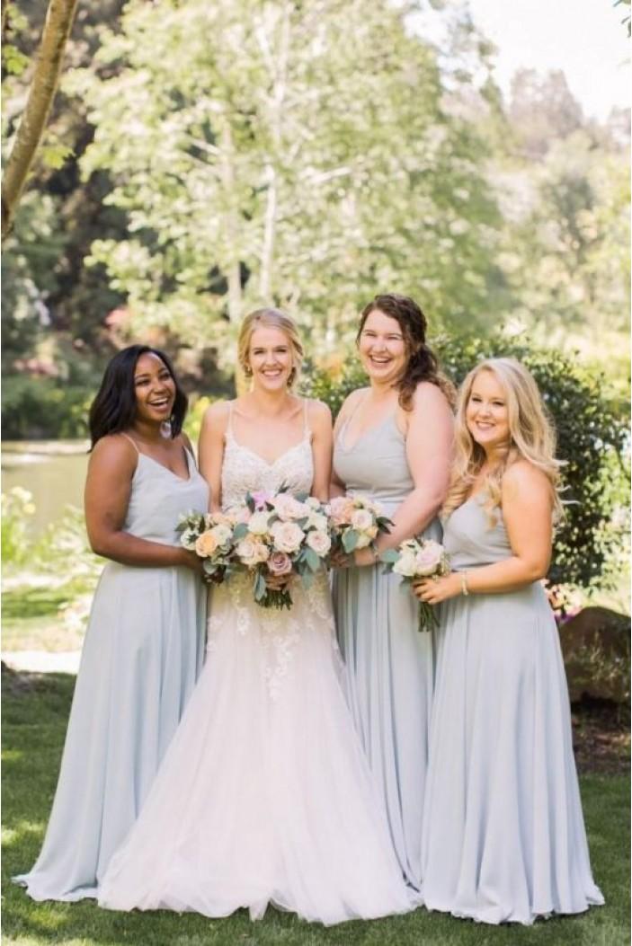 A-Line Spaghetti Straps Long Bridesmaid Dresses 3010400
