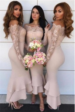 Mermaid Lace long Sleeves Bridesmaid Dresses 3010401