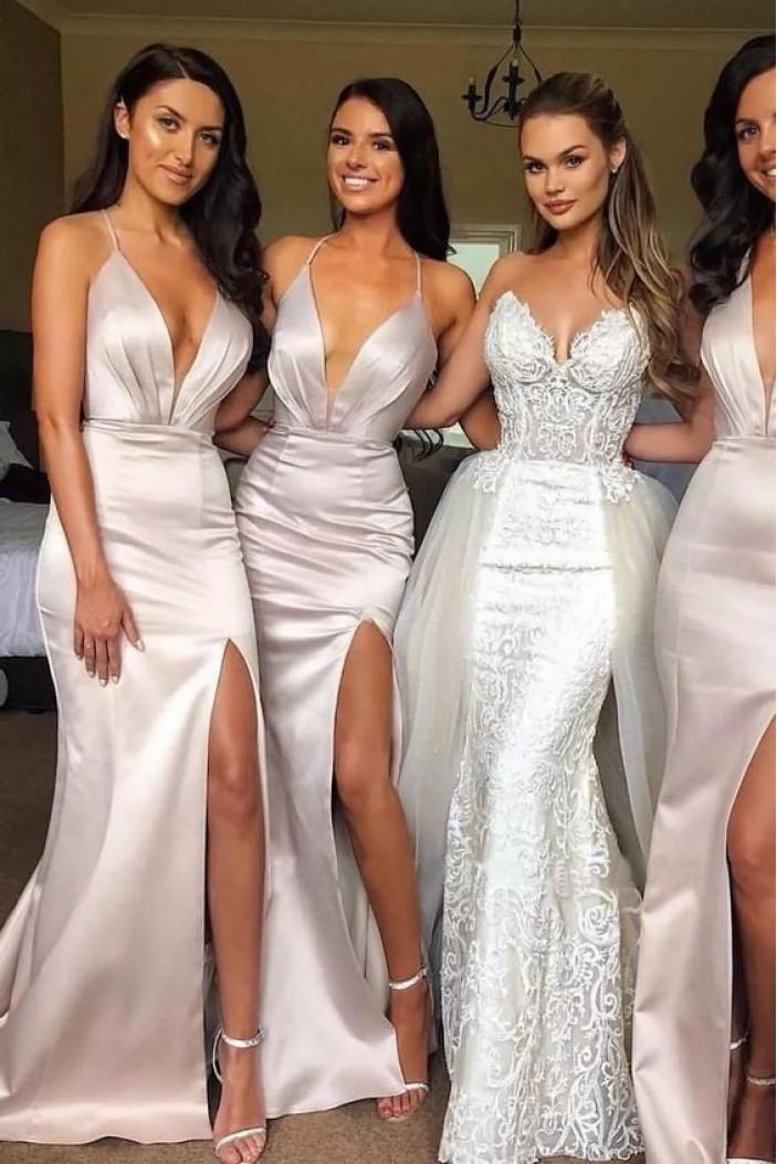 Memraid V-Neck Long Bridesmaid Dresses with Slit 3010407
