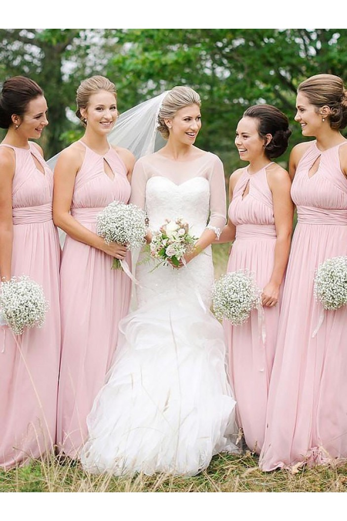 A-Line Long Pink Floor Length Bridesmaid Dresses 3010409
