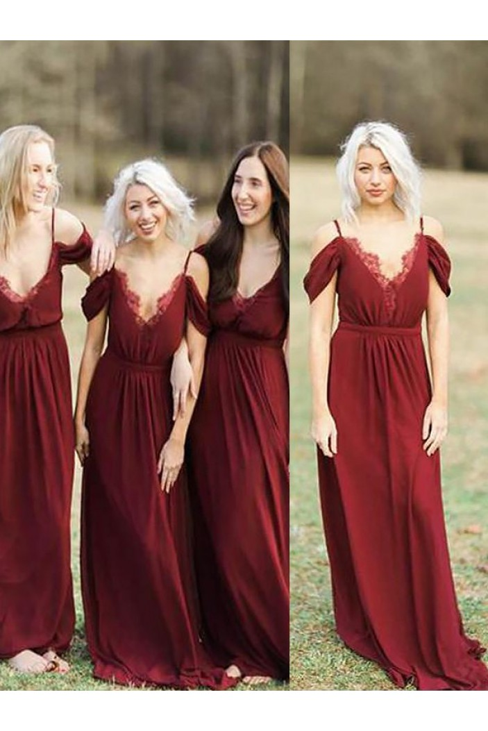 A-Line V-Neck Spaghetti Straps Floor Length Bridesmaid Dresses 3010410