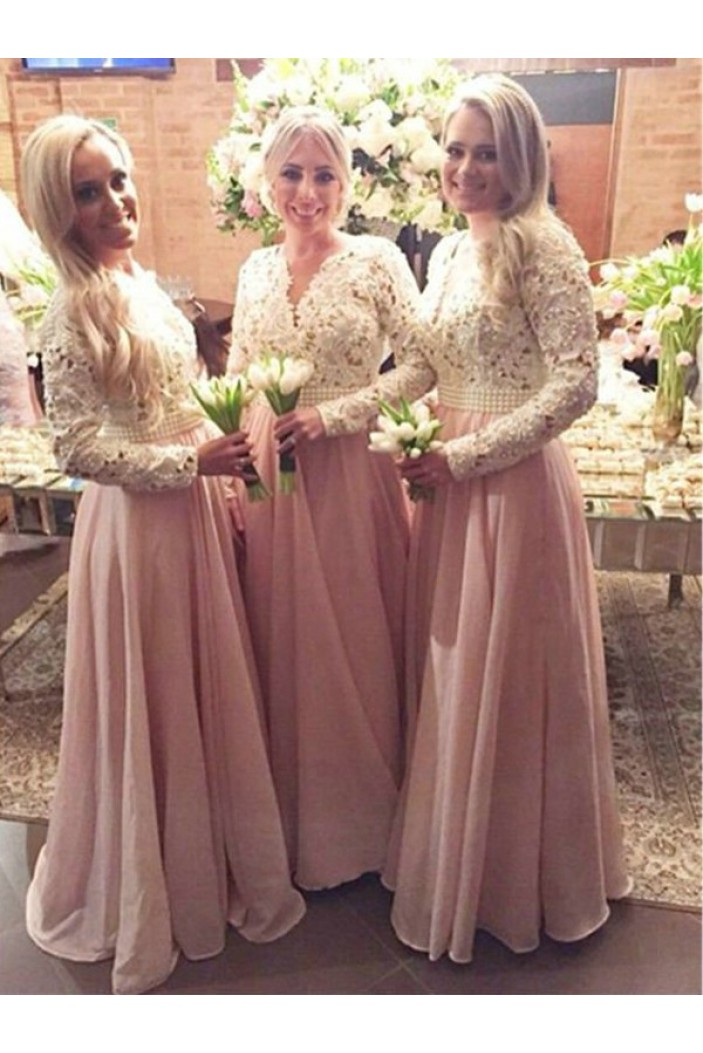 A-Line Beaded Long Pink Lace Floor Length Bridesmaid Dresses 3010412