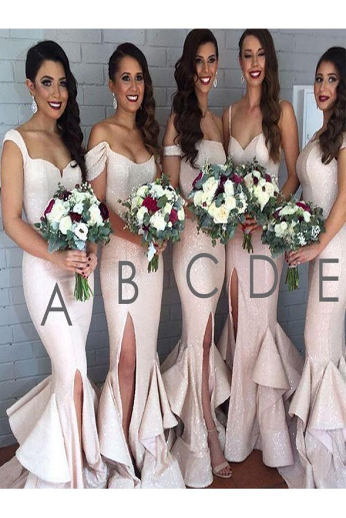 Mermaid Sequins Off-the-Shoulder Floor Length Bridesmaid Dresses 3010414