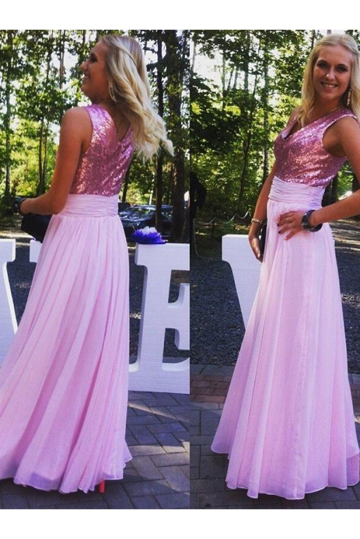 A-Line Sequins and Chiffon Long Pink Floor Length Bridesmaid Dresses 3010415
