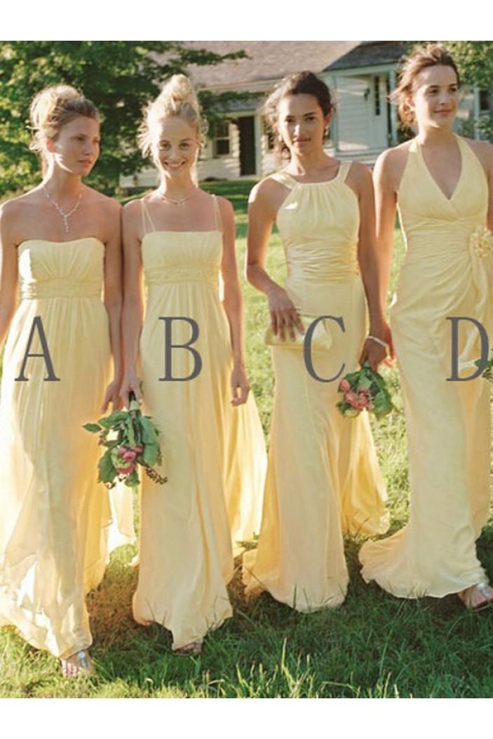 Long Yellow Chiffon Floor Length Bridesmaid Dresses 3010418