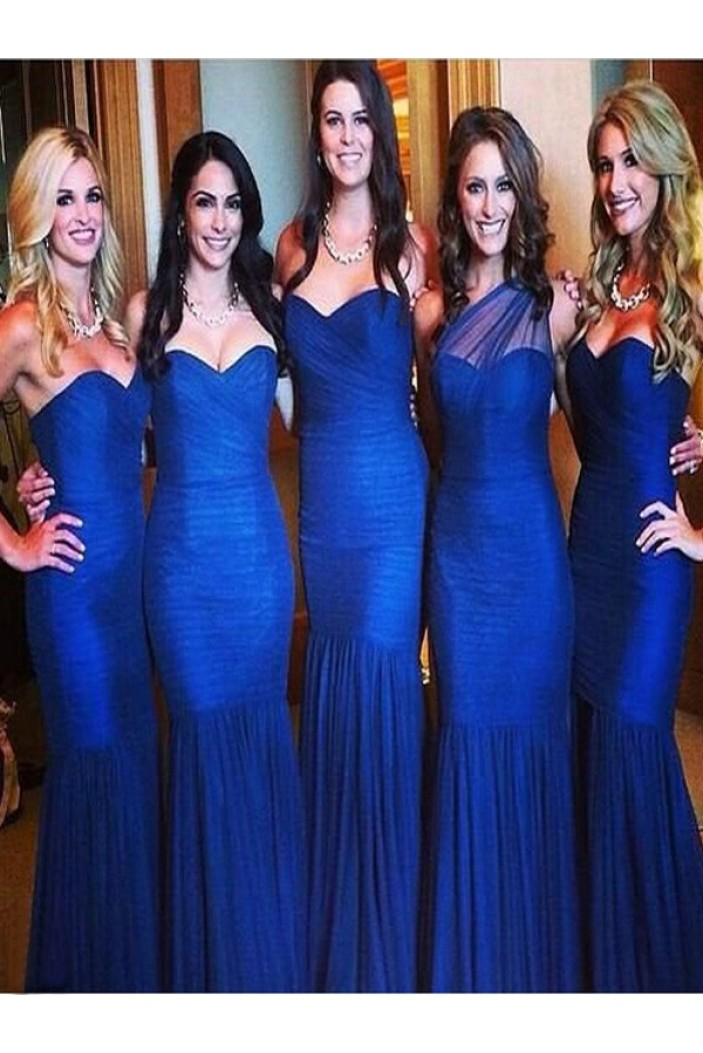 Mermaid Long Royal Blue Floor Length Bridesmaid Dresses 3010419