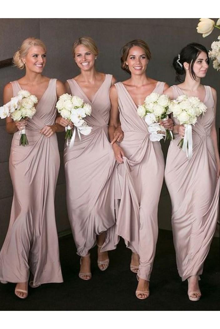 Sheath V-Neck Long Floor Length Bridesmaid Dresses 3010424