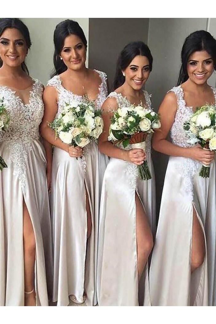 A-Line Lace Floor Length Bridesmaid Dresses 3010425