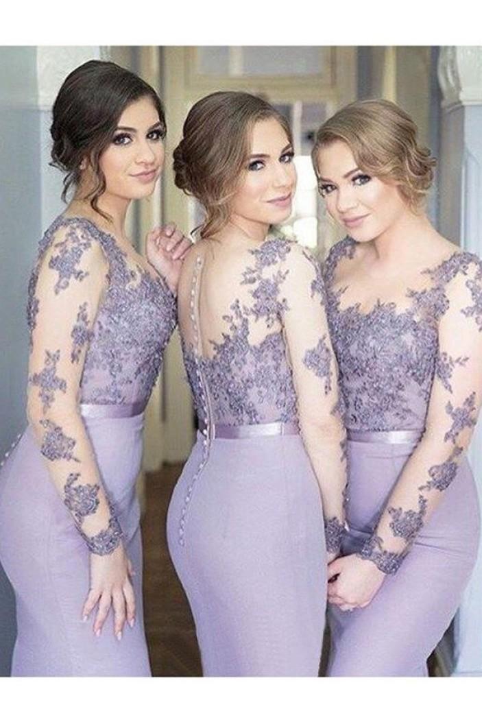 Mermaid Long Sleeves Lace Floor Length Bridesmaid Dresses 3010430