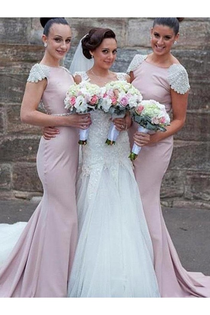 Mermaid Cap Sleeves Long Floor Length Bridesmaid Dresses 3010435