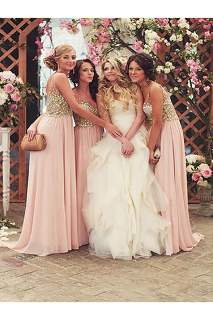 A-Line Chiffon Beaded Floor Length Bridesmaid Dresses 3010436