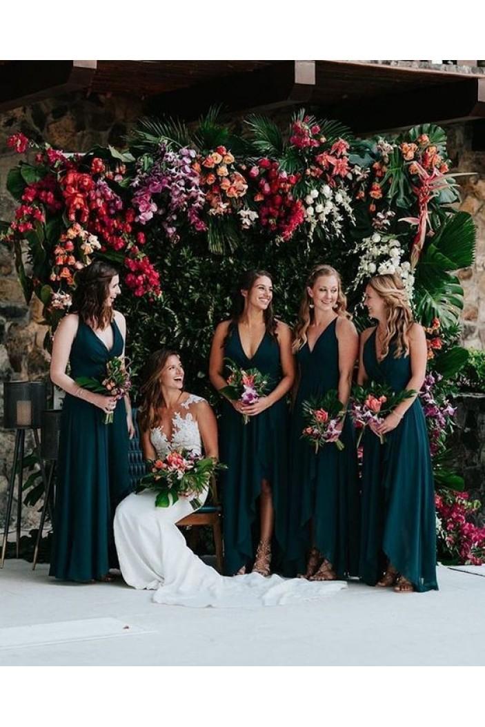 A-Line V-Neck Floor Length Bridesmaid Dresses 3010448