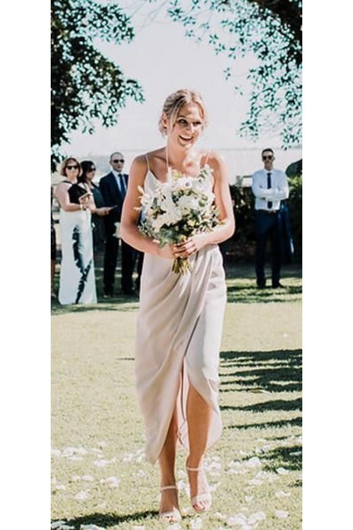 Simple Spaghetti Straps Floor Length Bridesmaid Dresses 3010449