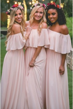 Long Pink Chiffon Floor Length Bridesmaid Dresses 3010460