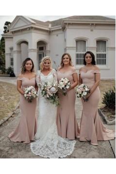 Mermaid Off-the-Shoulder Long Floor Length Bridesmaid Dresses 3010461