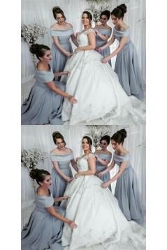 A-Line Off-the-Shoulder Floor Length Bridesmaid Dresses 3010463