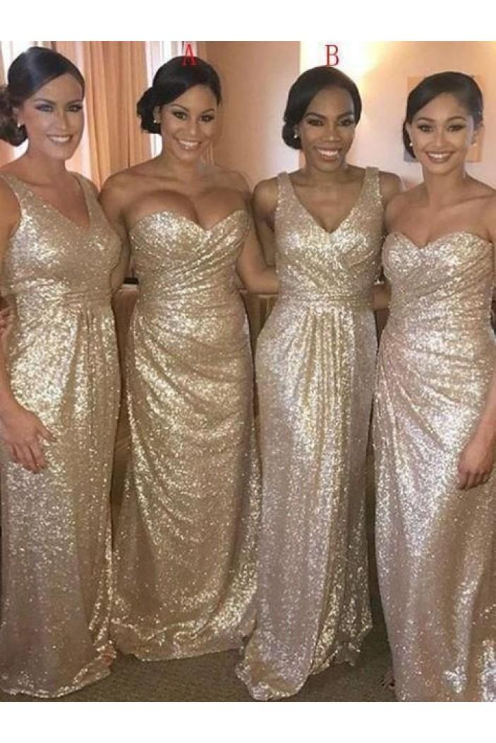 Sequins Long Floor Length Bridesmaid Dresses 3010468