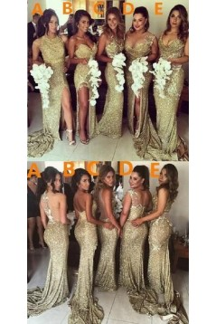 Sheath Sequins Floor Length Bridesmaid Dresses 3010470