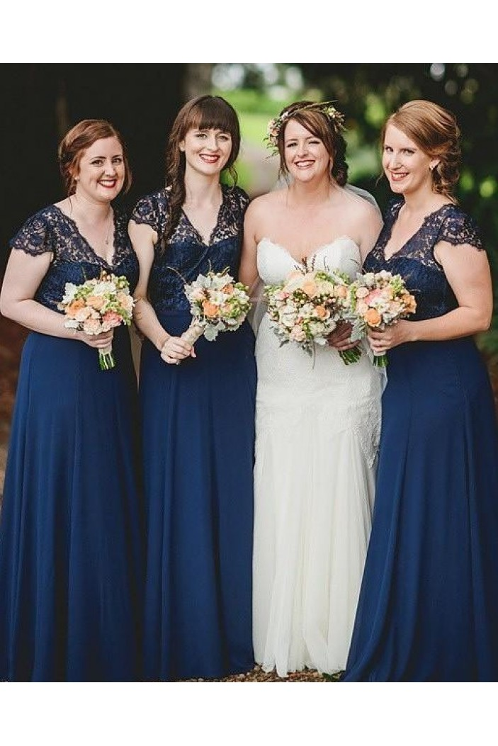 A-Line Lace and Chiffon Long Navy Blue Floor Length Bridesmaid Dresses 3010475