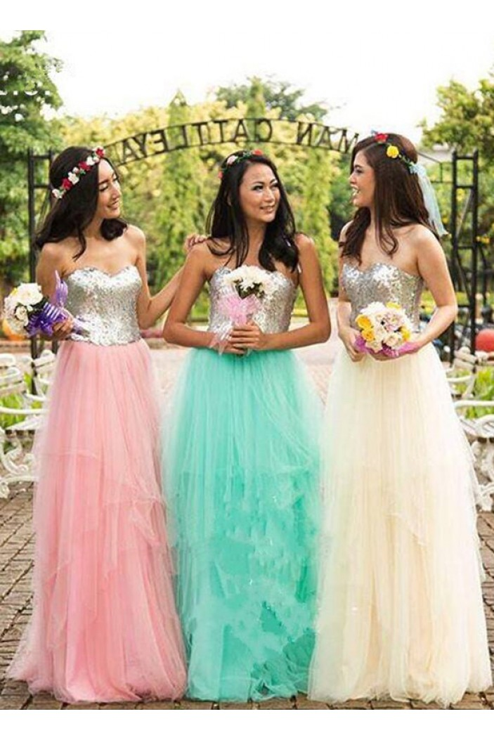 A-Line Sequins and Tulle Floor Length Bridesmaid Dresses 3010476