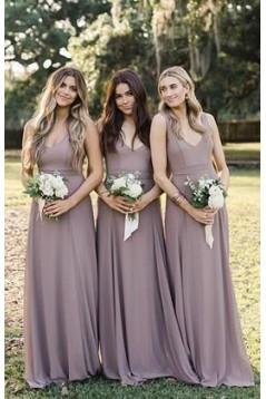 A-Line V-Neck Floor Length Bridesmaid Dresses 3010479