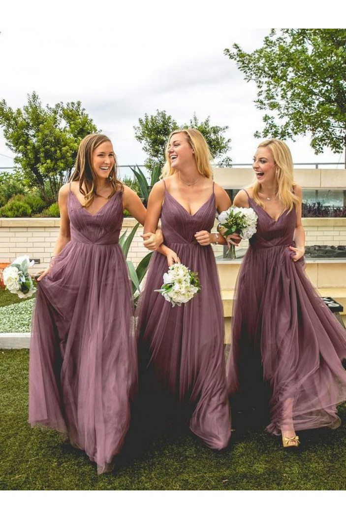 A-Line V-Neck Spaghetti Straps Floor Length Bridesmaid Dresses 3010480