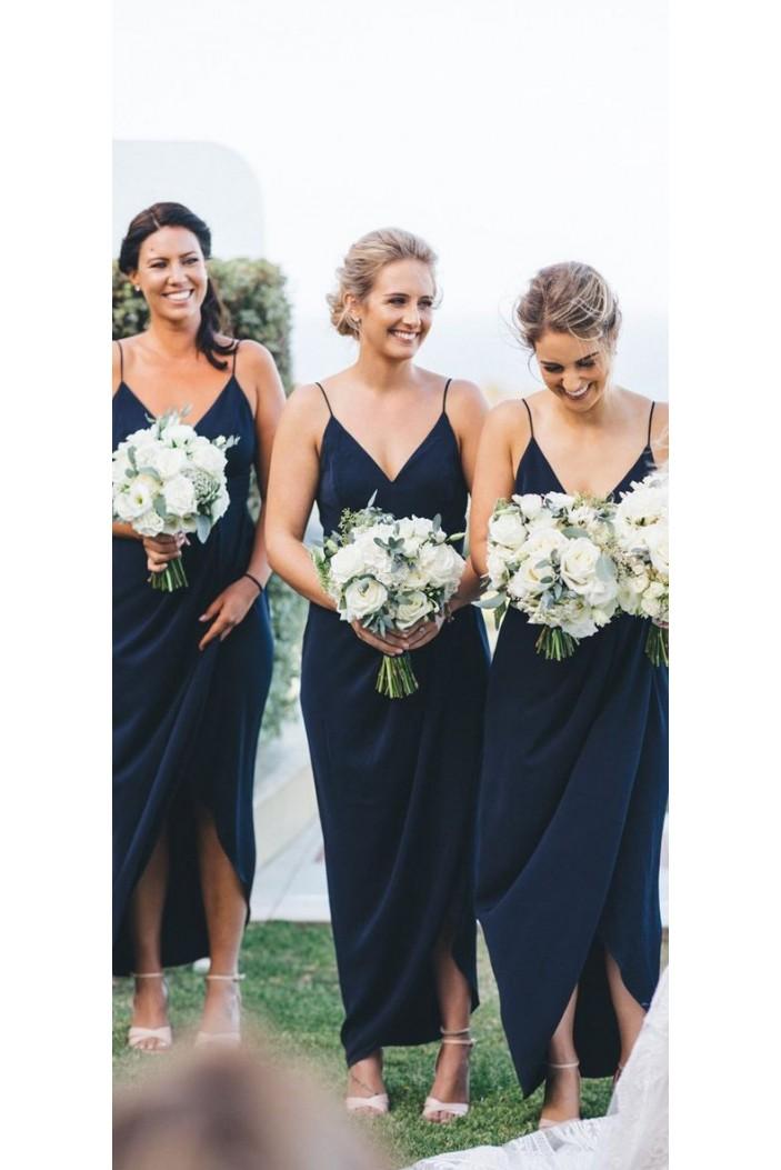Sheath Spaghetti Straps V-Neck Bridesmaid Dresses 3010481