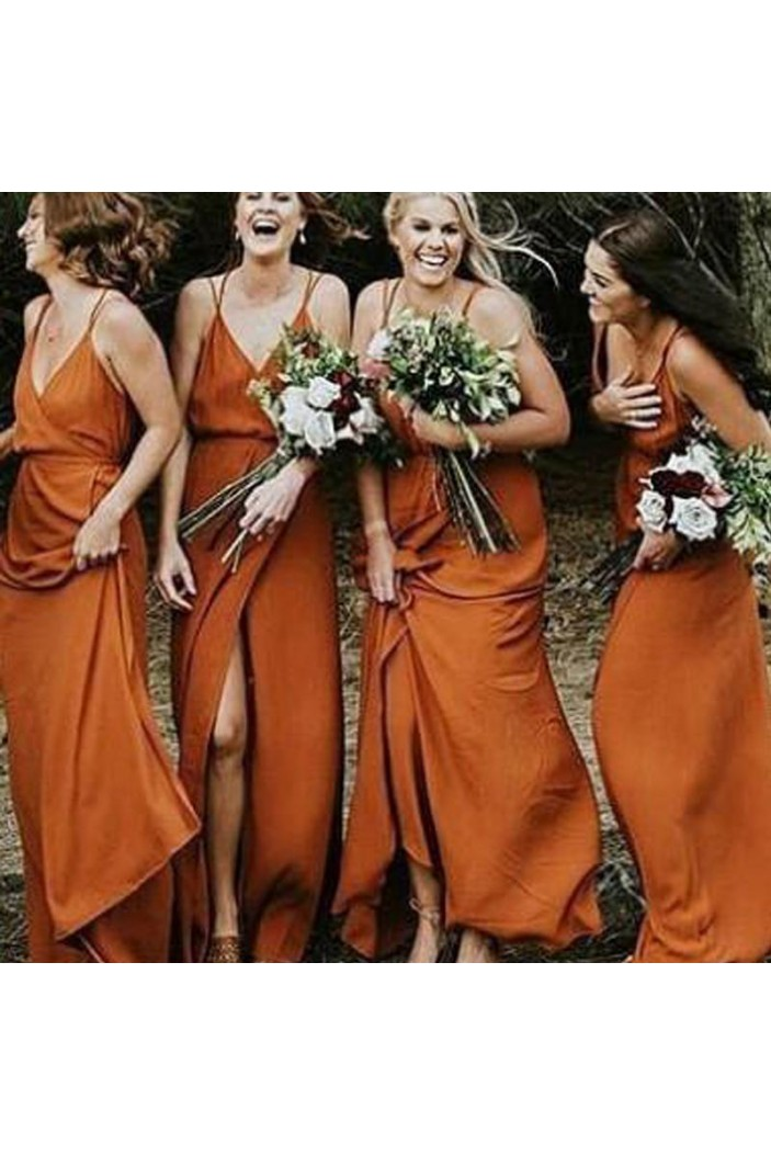 Sheath Spaghetti Straps V-Neck Floor Length Bridesmaid Dresses 3010482