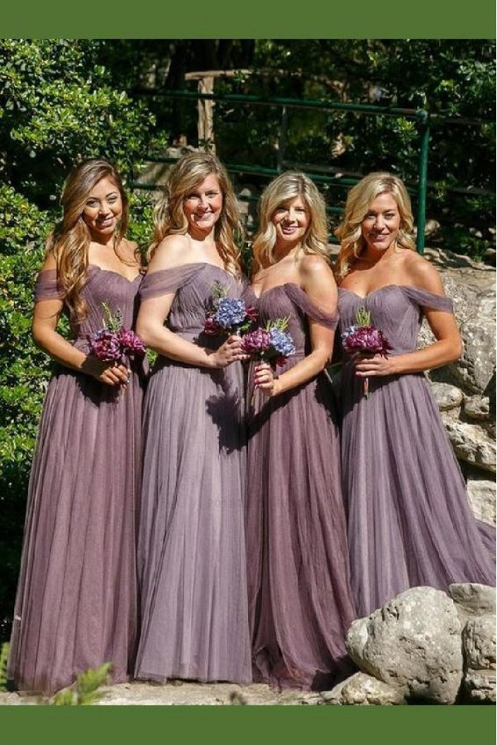 A-Line Off-the-Shoulder Long Floor Length Bridesmaid Dresses 3010484