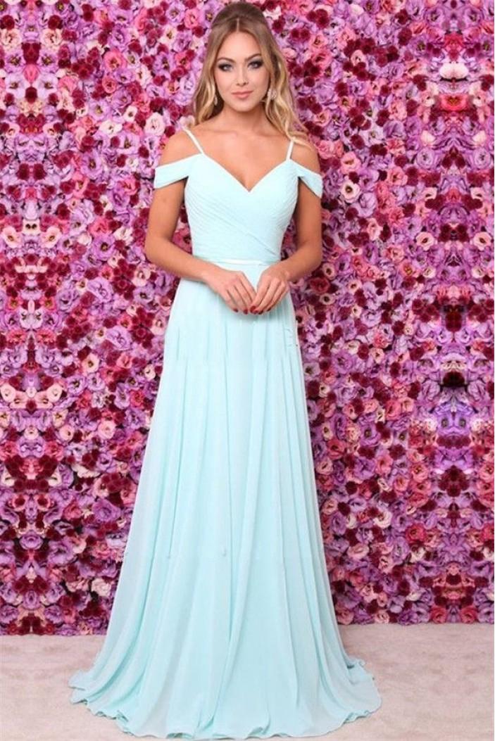 A-Line V-Neck Chiffon Floor Length Bridesmaid Dresses 3010488