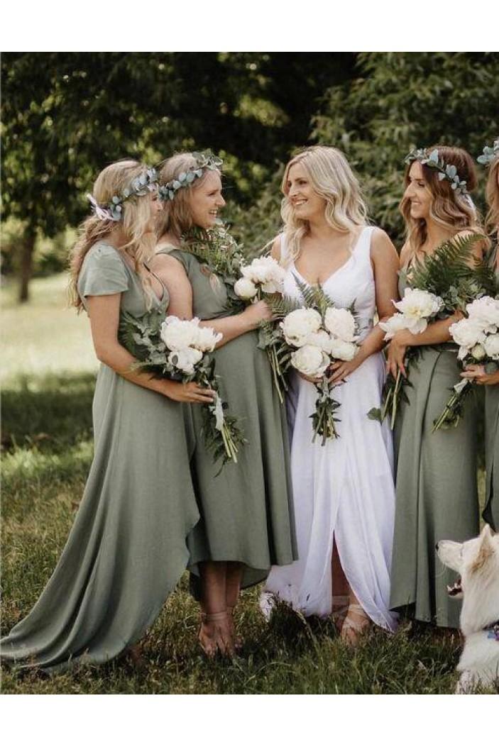 Simple V-Neck Bridesmaid Dresses 3010491