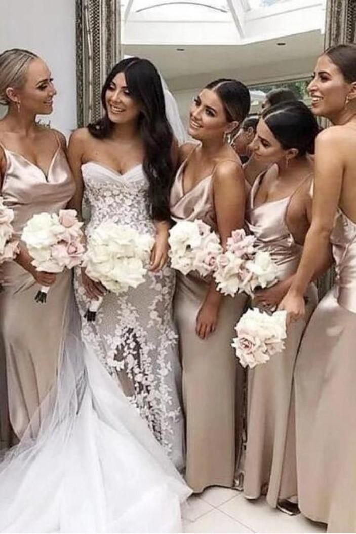 Simple Spaghetti Straps Floor Length Bridesmaid Dresses 3010492