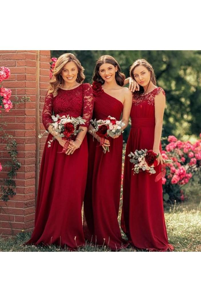 A-Line Long Chiffon Floor Length Bridesmaid Dresses 3010501