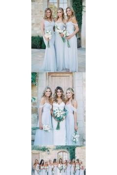 A-Line Chiffon Off-the-Shoulder Floor Length Bridesmaid Dresses 3010506