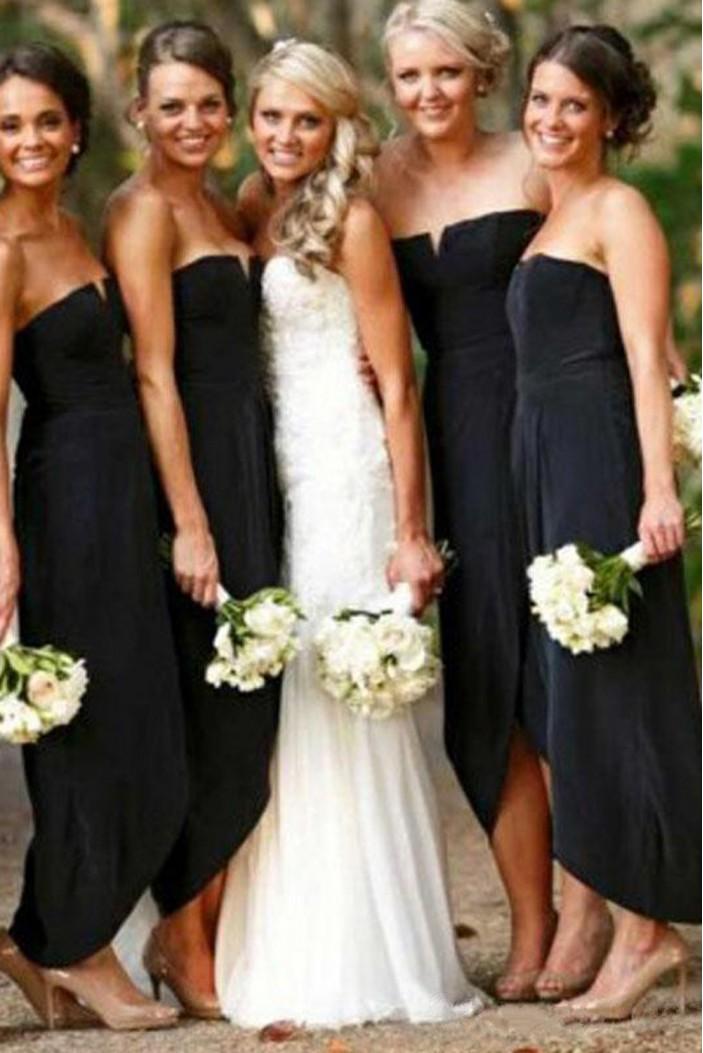 Sheath Strapless Black Floor Length Bridesmaid Dresses 3010510