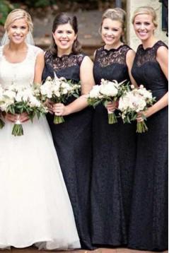 Long Black Lace Floor Length Bridesmaid Dresses 3010511