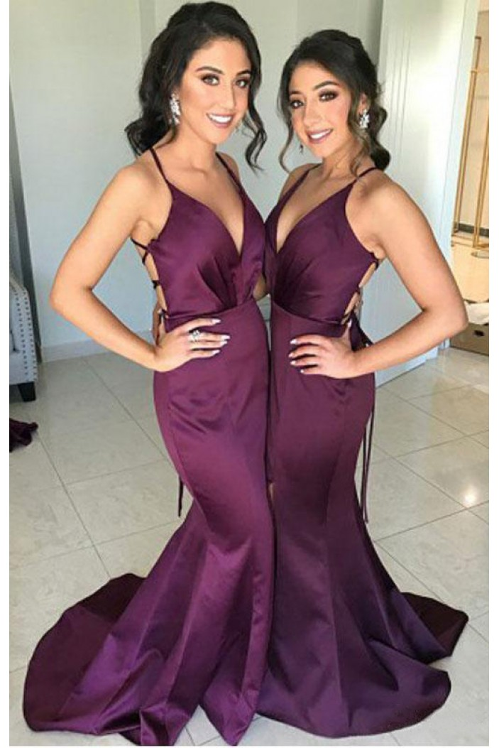 Mermaid Long Grape V-Neck Floor Length Bridesmaid Dresses 3010514