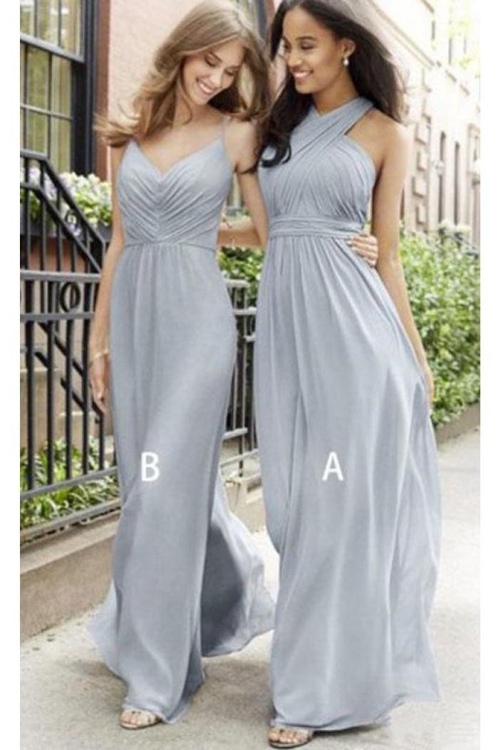A-Line Long Chiffon Floor Length Bridesmaid Dresses 3010515