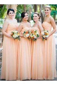 A-Line Long Chiffon Floor Length Bridesmaid Dresses 3010518
