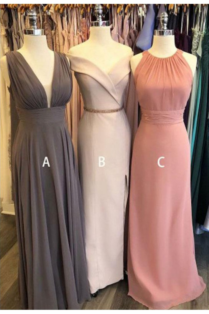 A-Line Long Chiffon Floor Length Bridesmaid Dresses 3010519